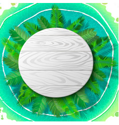 wooden circle emblem on palm vector image vector image