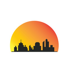 building silhoute sunsite logo vector image vector image