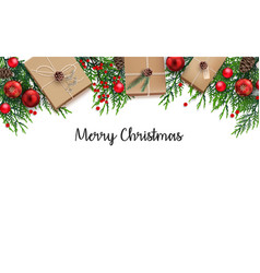 christmas background with fir branches and red bal vector image vector image