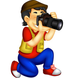 Funny photographer cartoon in action vector