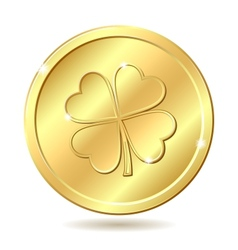 Golden coin with clover vector image vector image