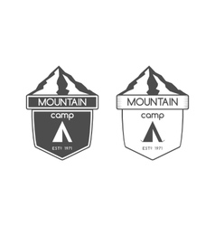Mountain camp badge logo and label template vector image