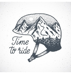 Time to Ride Abstract Hand Drawn Snowboard vector image vector image