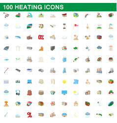 100 heating icons set cartoon style vector
