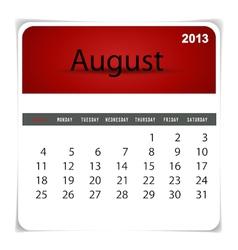 2013 calendar August vector