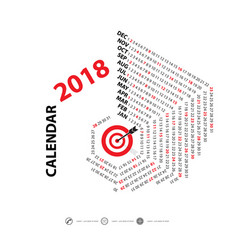 2018 calendar templatehexagon shape calendar vector image