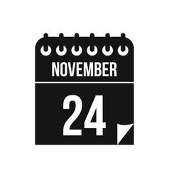 24 november calendar icon in simple style vector