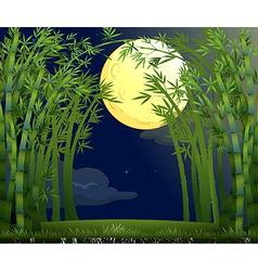 A rainforest under the bright moon vector