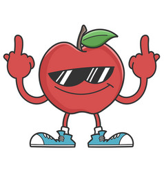 Apple character with sunglasses giving fingers vector