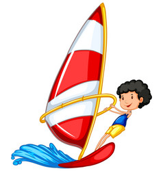 Athlete doing sailing on white background vector