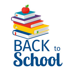 Back to school with books icon vector
