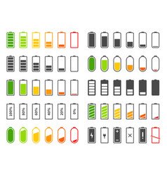 Battery icons charging level batteries charge vector