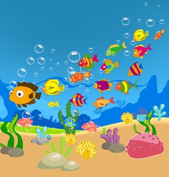 Big family of fish in the sea vector