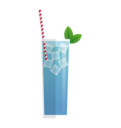 blue cocktail glass with mint ice straw and vector image