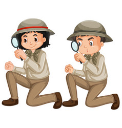 Boy and girl in safari outfit on white background vector