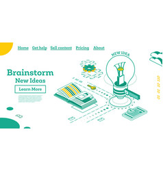 brainstorm isometric outline concept with lamp vector image