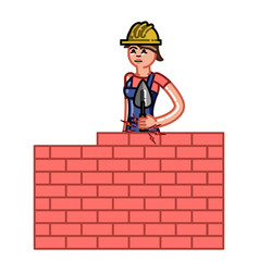 Builder woman build a brick wall vector