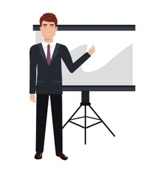 business person training with blackboard vector image