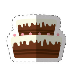Cake dessert chocolate cream shadow vector