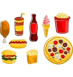 Cartoon fast food drinks and snacks vector image