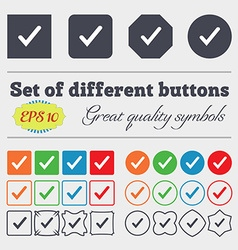 Check mark tik icon sign Big set of colorful vector image