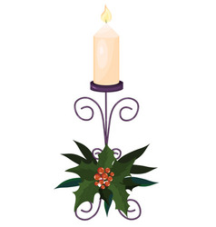 christmas candle in a candlestick graphics vector image