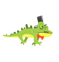 cite cartoon chameleon wearing black top hat vector image