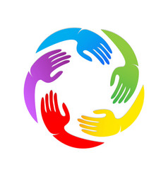 colorful unity hands together logo vector image