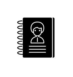 contacts black icon sign on isolated vector image