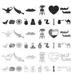 country united arab emirates cartoon icons in set vector image