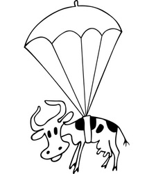 Cow with parachute vector