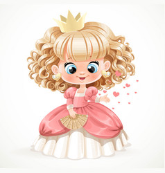Cute baby princess with blond curly hair in pink vector