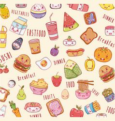 Cute food background kawaii cartoons vector