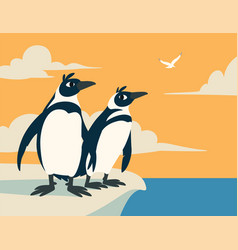 Cute penguins family of arctic birds look into vector