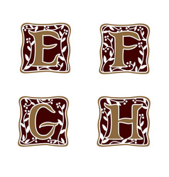 Decoration letter e f g h logo design concept vector
