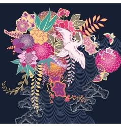 Decorative kimono floral motif vector