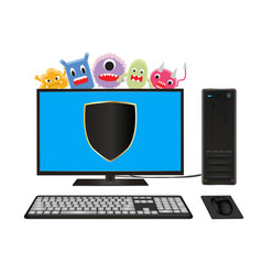 desktop computer with virus protection vector image