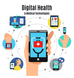 digital health technologies flat composition vector image