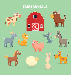 Farm animals and barn vector