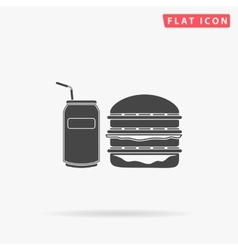 fast food simple flat icon vector image
