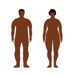 Fat african men and women cartoon outline style vector