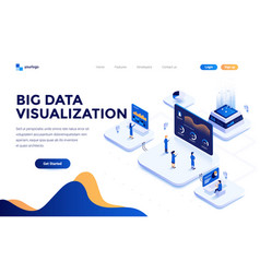 flat color modern isometric concept - big data vector image