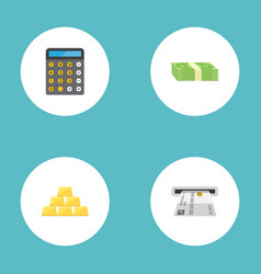 Flat icons ingot accounting teller machine and vector