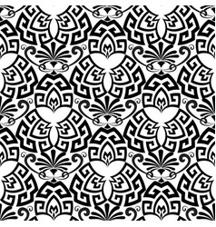floral ornamental black and white greek seamless vector image