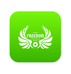 Freedom wing icon green vector