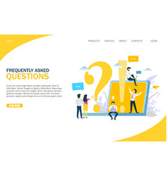 frequently asked questions website landing vector image