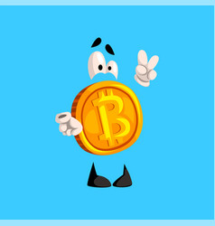 Funny bitcoin character showing victory sign vector