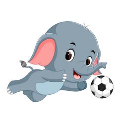 Funny elephant playing football cartoon vector