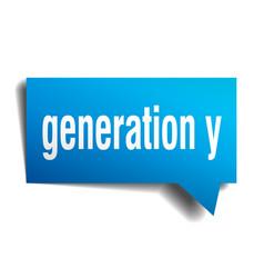 Generation y blue 3d speech bubble vector