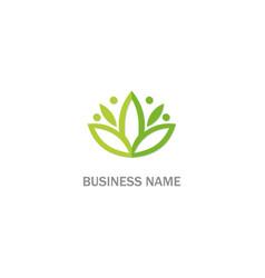 green leaf lotus flower beauty logo vector image